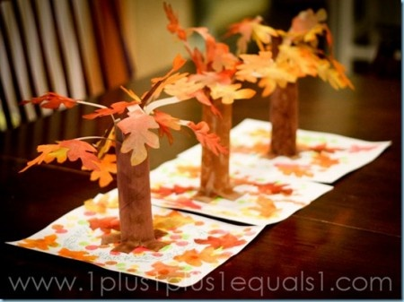 Turn paper towel rolls into a colorful fall forest centerpiece.