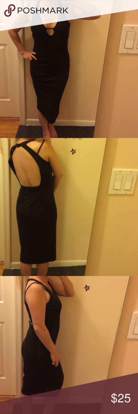 """Socialite black midi dress strappy, like new. Wore for running a couple errands only. Super cute and elegant with a modern twist. Buttons in the back of neck. Backless and zips in back. Super stretchy to accommodate many different body shapes and accentuates all the right places. Bust: 15"""" waist: 14"""" hips: 16"""". Waist down: 27"""". Spaghetti straps that fall down to the side. Bottom width: 15"""". Made of polyester and spandex. Back button to bottom in back: 15"""". Definitely a classic look that can…"""