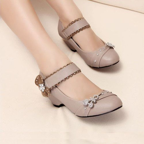 Brilliant Apricot PU Rhinestone Round Closed Toe Chunky Low Heel Pumps