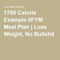 1700 Calorie Example IIFYM Meal Plan | Lose Weight, No Bullshit