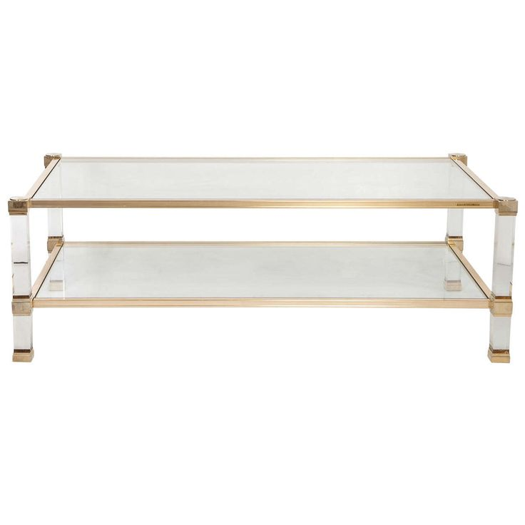 Pierre Vandel Signed Lucite And Brass Coffee Table