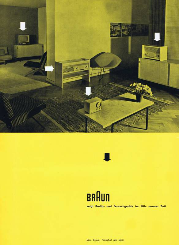 Braun catalogue, 1955. Graphic design: Otl Aicher. Note the first products of the Hochschule für Gestaltung, Ulm, by Hans Gugelot. The photo was taken in the showroom of Knoll in Wiesbaden. Via http://www.hifimuseum.de/1955-braun-neuigkeiten.html