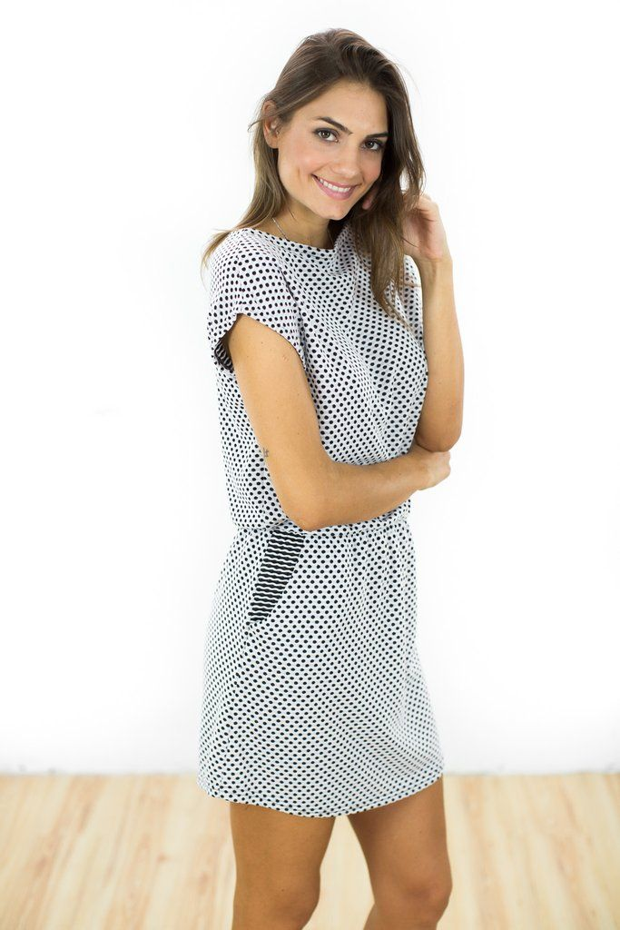 "Dress Baloux Black White Polka Dot Black and white polka dot knit dress with a classic boat neck and elasticated waist, giving it a feminine silhouette. Everybody loves a casual summer dress when it gets a little too hot, the ""Baloux"" is perfect for hot summer days. The side pockets add a casual touch. http://shoko-shop.com/collections/new-in/products/dress-baloux-black-white-polka-dot"