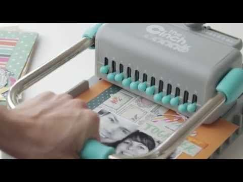 ▶ Cinch by We R Memory Keepers - YouTube - for wire bound or plastic spiral bound books -- this one (Turquoise Handle) makes round holes.