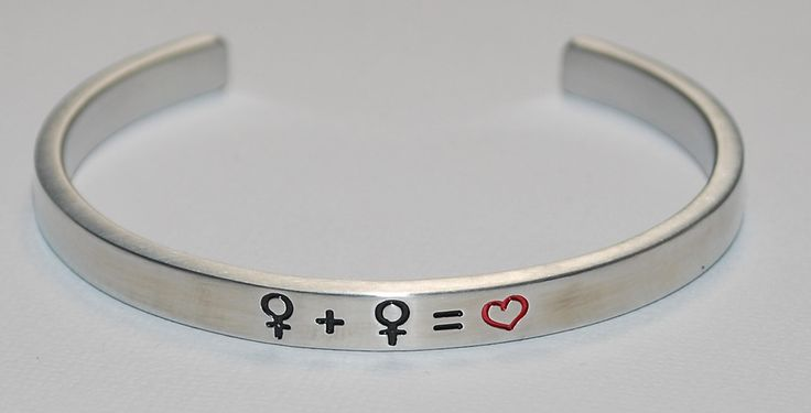 Female Gay Symbols  |  Engraved Handmade Bracelet by: Say It and Wear It Jewelry