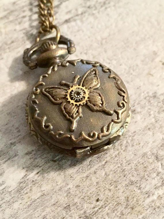 Steampunk Butterfly Pocket Watch Necklace #Steampunk #Pocketwatch #Butterfly #ButterflyPocketwatch #WatchNecklace #SteampunkJewelry #Etsy #etsyseller #etsyshop #etsyfinds