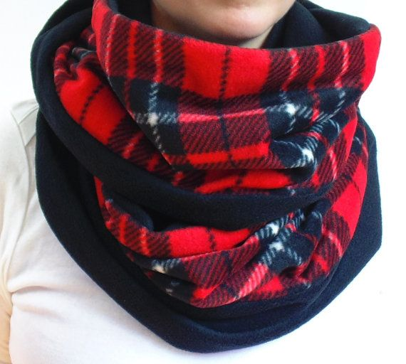 Red Plaid Infinity Scarf Tartan Scarf Red Black & White by brefney