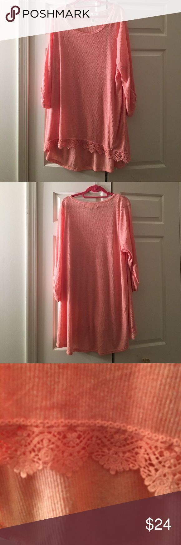 ✨MUST BUNDLE PRETTY PEACH TOP✨ NWT PLUS SIZE 2X Very nice color and long length Tops Tees - Long Sleeve