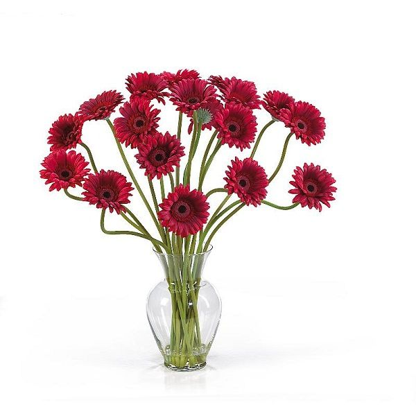 108 best artificial flowers in acrylic water images on pinterest the deep red color of this gerber daisy silk flower arrangement in acrylic water adds a mightylinksfo Gallery