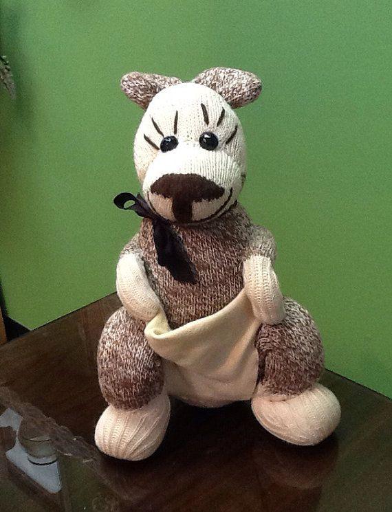 Vintage Sock Kangaroo Sock Monkey on Etsy, $12.00