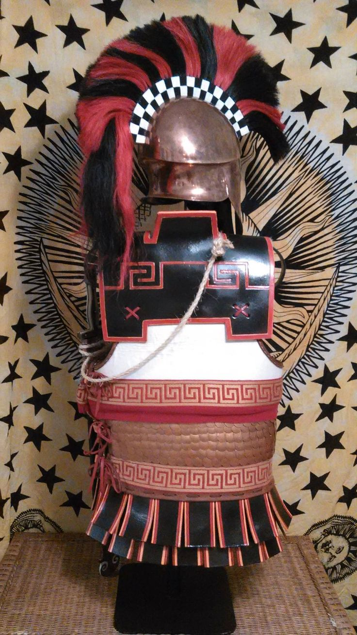 Hoplite armour and 'Denda style' Corinthian helmet - set by David McDowell, chest protection by Mat Poitras from MP Film crafts. Back view. More info avaliable at 'The International Hoplite Discussion Group' on Facebook.