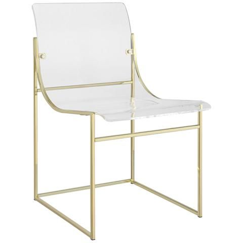 Knobel Clear Acrylic and Gold Dining Chair Set of 2 - #36E64 | Lamps Plus
