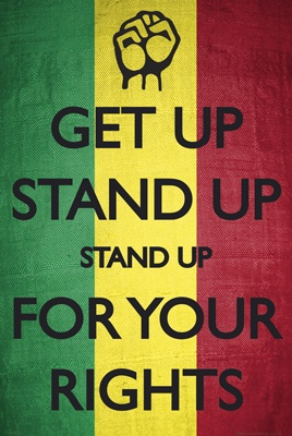 """This quote is from Bob Marley's song, """"Get Up, Stand Up"""". This quote gives you a sense of black pride because Mr. Marley stood up for what he believe in and obeyed the laws and practices of the Rastafari movement."""