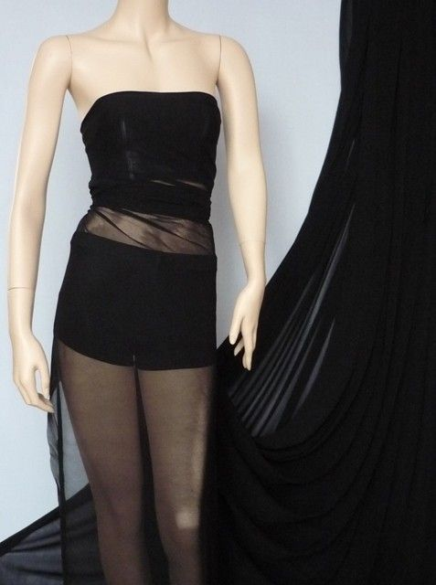 Black stretch helenka mesh sheer fabric Q443 BK