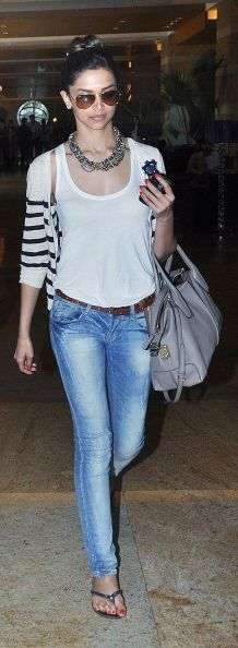 Deepika Padukone styles a simple jeans and a tank top with a fabulous statement necklace