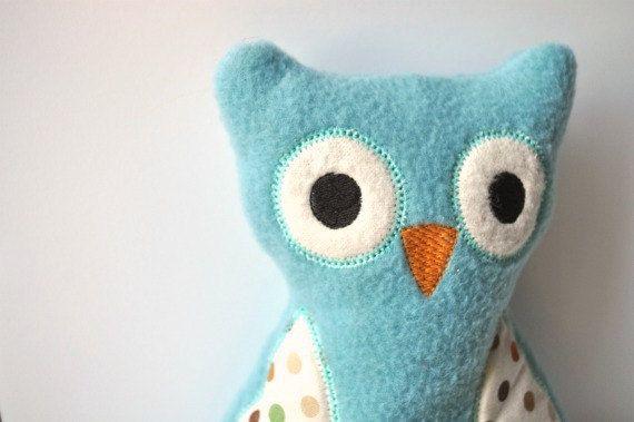 Blue Owl  Baby Boy Owl  Cuddly Owl  Plush Owl by BirdieAndDot, $15.00