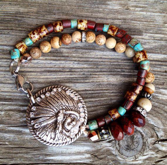 Southwestern style bead bracelet Picasso fire by FireSpiritandSoul, $42.00