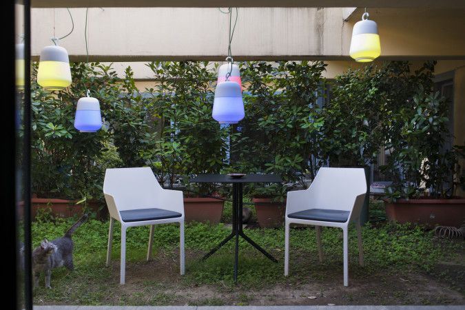 """We share the images of the beautiful location """"Casa Bertallot"""" where the DJ hosts artists and spreads his radio show  Our products are:  Sharky chairs Mem Chairs Plana Upholstered Chairs BCN Disc Base Stools Sushi table Poule table SheLLF Bookcase"""