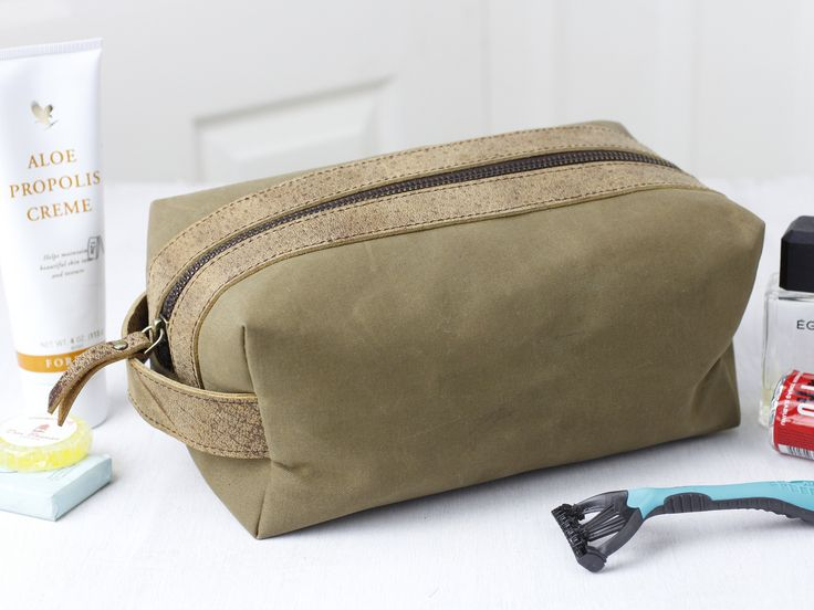 Leather and Canvas Washbag  - a father's day gift he'll actually use