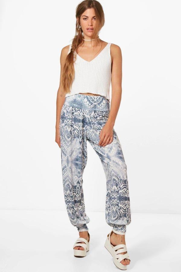 boohoo Laura Bohemian floral Jersey Harem Trousers
