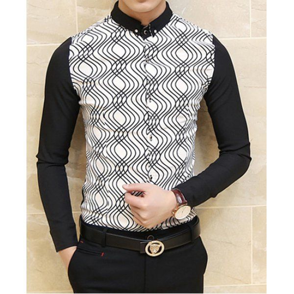 Stylish Shirt Collar Slimming Color Block Waviness Splicing Long Sleeve Men's Polyester Shirt, BLACK, XL in Shirts | DressLily.com
