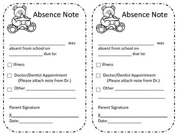 Absence excuse from school note student note and a student for Absent notes for school templates