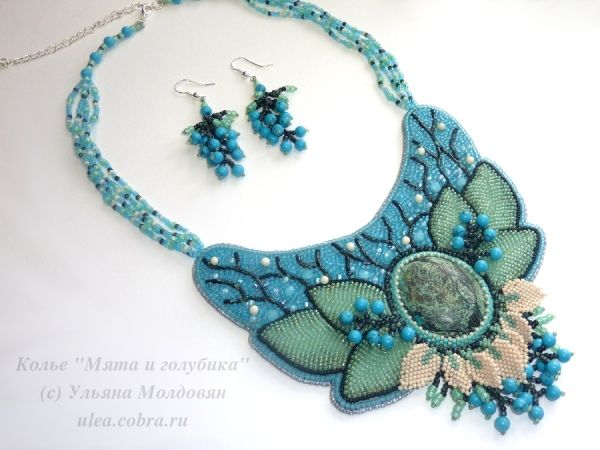 "Jewelry set - necklace and earrings ""Mint and blueberry"". Bead embroidery. Beadwork jewelry."