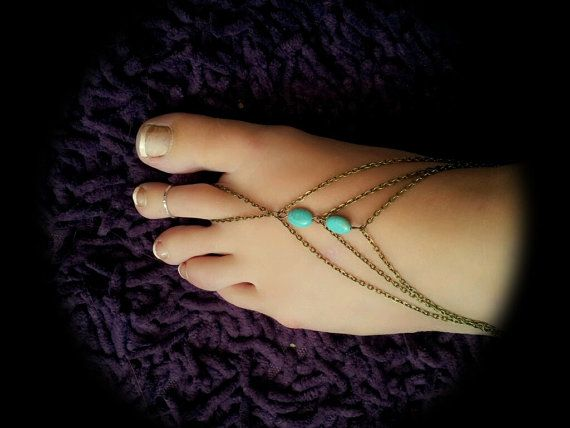 Boho Slave Barefoot Sandal Foot Bracelet Bronze Chain Bohemian Two Turquoise Beads Three Strand Foot Jewellery Barefoot Sandles Tribal on Etsy, $17.79