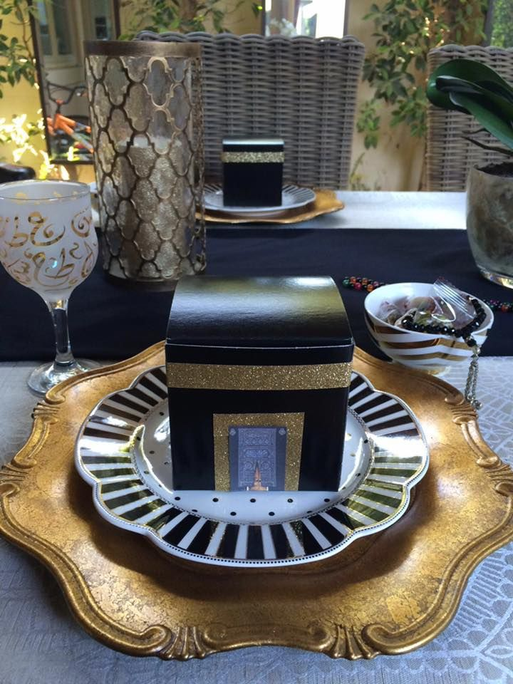 Table setup for Eid-Al Adha #Eid #Hajj #Arafa Day #Table setup #Decorations #Kabah https://www.facebook.com/crownyouroccasions/