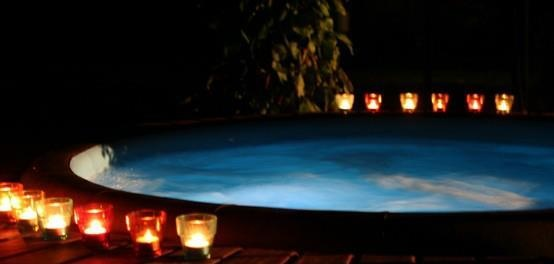 Set the mood with Softub. We love the inside lighting and tranquility of this photo. Hot tubs are so beneficial to everyday life and can really aid in stress relief and relaxation!