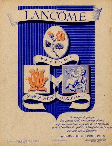 Lancôme - parfums -soins de peau - maquillage - 1942