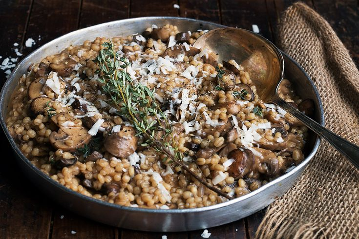 This Barley Risotto with Mushrooms feature fabulously nutty pearl barley, cooked up risotto style with mushrooms. A great meatless main or a hearty side.