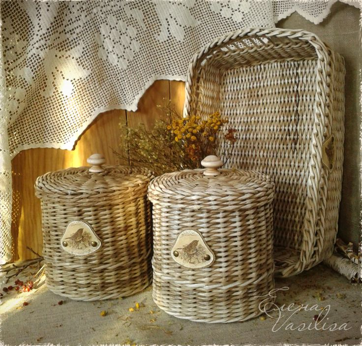 Wicker boxes and tray.