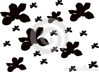 Vector orchid flower silhouette pattern.