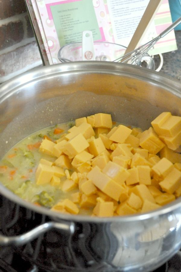 Cheesy Velveeta Broccoli Soup 1 Cup Carrots chopped 1 Cup Celery chopped 2 Cups Broccoli chopped 6-8 Cups Chicken Broth 1 16 oz  brick of Velveeta Cheese 1/2 cup butter 1/4 C Flour pepper to taste  Boil veggies in chicken broth until tender about 10-20 minutes. Add butter and flour. Add Velveeta cubed mix together until smooth. May add more chicken broth for desired consistency. Soup will thicken as it cools.