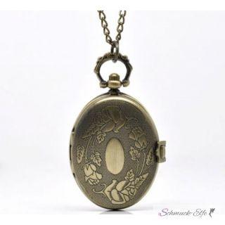 Uhrenkette / Taschenuhr oval  mit vintage Rosen Motiv...