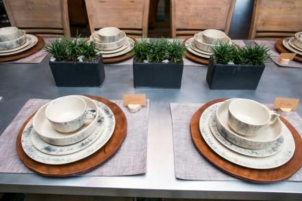 The place setting on the dining room table in the newly renovated Ridley home, as seen on Fixer Upper. (after)