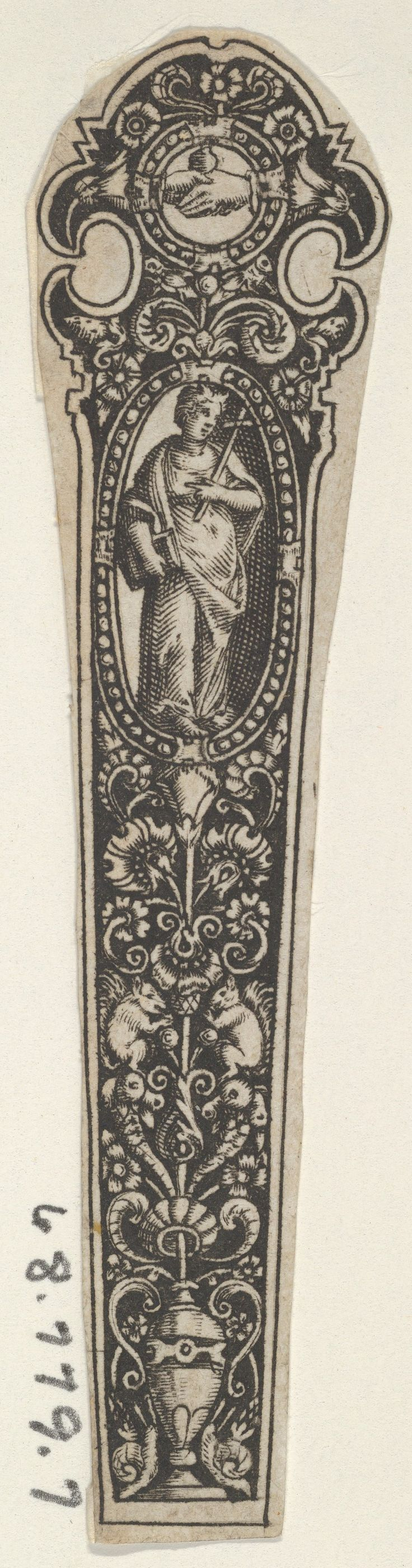 Copy of a Design for a Knife Handle with the Personification of Faith Artist: after Johann Theodor de Bry (Netherlandish, Strasbourg 1561–1623 Bad Schwalbach) Date: 1580–1600