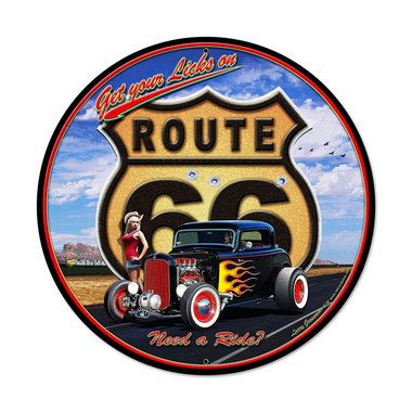retro get your licks round metal sign 28 x 28 inches