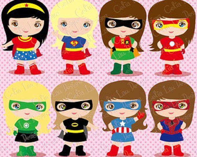 Imágenes Prediseñadas de Supergirl, lindo gráfico Digital, superhéroe chicas clip art para Scrapbooking e invitaciones / descargar instantánea (S016)