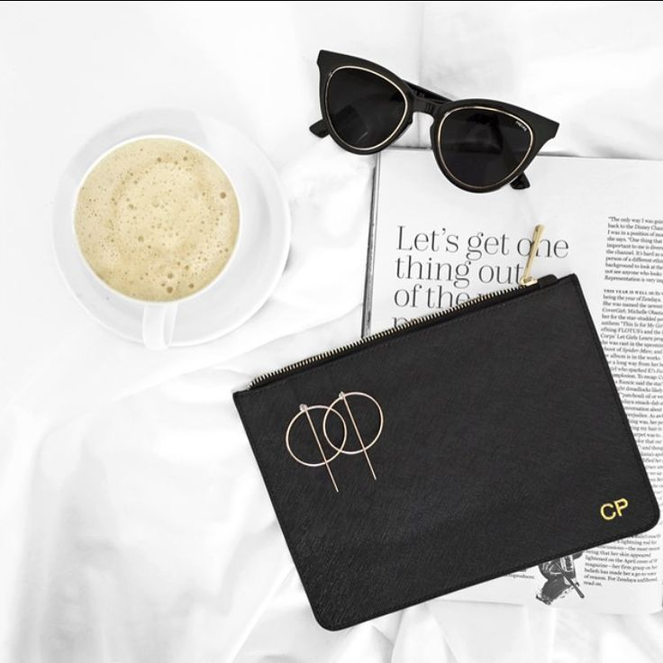 Monday essentials. 😎☕️ shop LUXE LEATHER for your personally monogrammed pouch (and get 25% off with code NEWME!)
