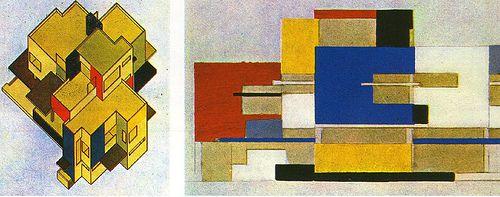 Theo Van Doesburg e Cor Van Eesteren, Schema architettonico e studio di colore per un'architettura, Parigi, (1922-23)
