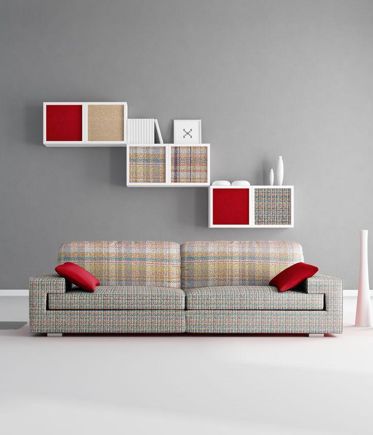 Kolekcja tkanin meblowych PIXEL w minimalistycznym wnętrzu.