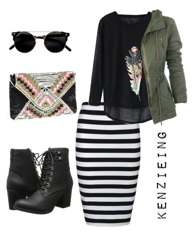 """Feathers & Stripes"" by kenzieing on Polyvore featuring Madden Girl, Ally Fashion, Berry, modestishottest and ApostolicFashion"