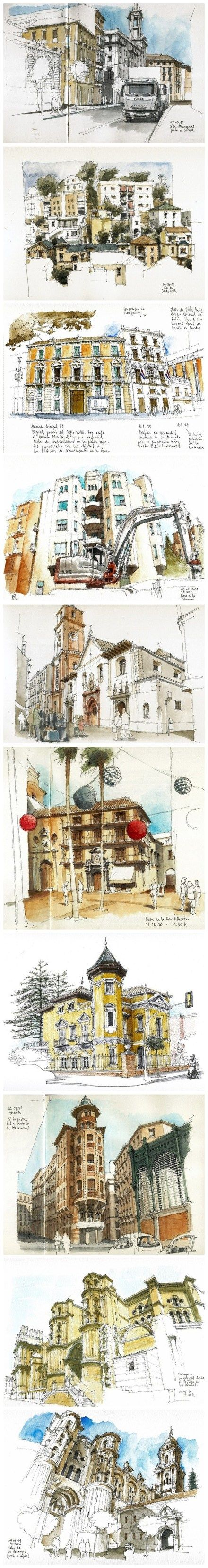 Excelentes trazos con tinta complementados con color, arquitectura inspiradora.  Artista desconocido