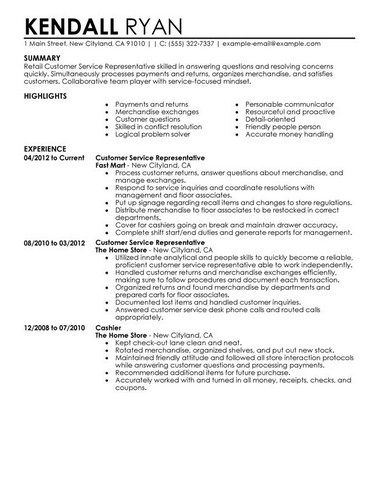 Example Of Perfect Customer Service Resume Resume Samples - customer service on a resume