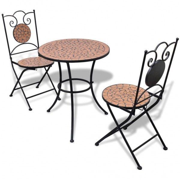 Garten Bistro Set Mosaik Stuhle Tisch Terrakotta Terrassen Deko