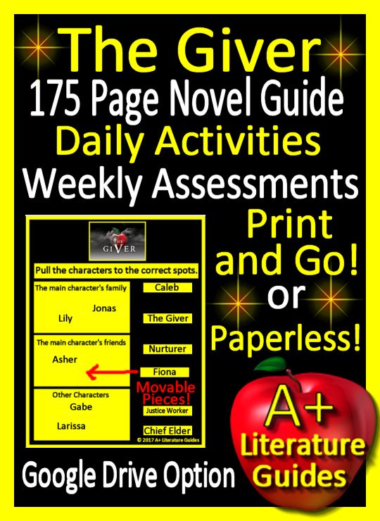Free up your time with this 175 Novel-Literature Guide for the novel, The Giver.  It includes a google drive option.  Use it as a print-and-go product or paperless.  It has daily activities, weekly tests, interactive activities and much more.  The Google Drive option has two Google Slide sets - 46 chapter question slides, and 7 story element movable slides.