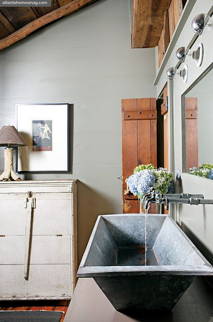 Love The Galvanized Steel Sink Boy 39 S Bathroom Pinterest Love This Metal Trough And Rustic