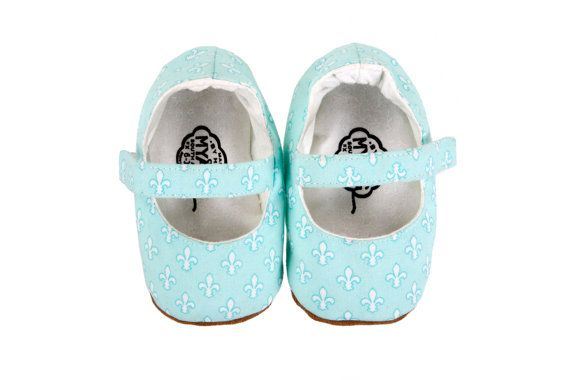 Girls shoes - turquoise Fleur De Lis print - hand made by Myang South Africa - www.myang.co.za - buy on Etsy.  #MYANG